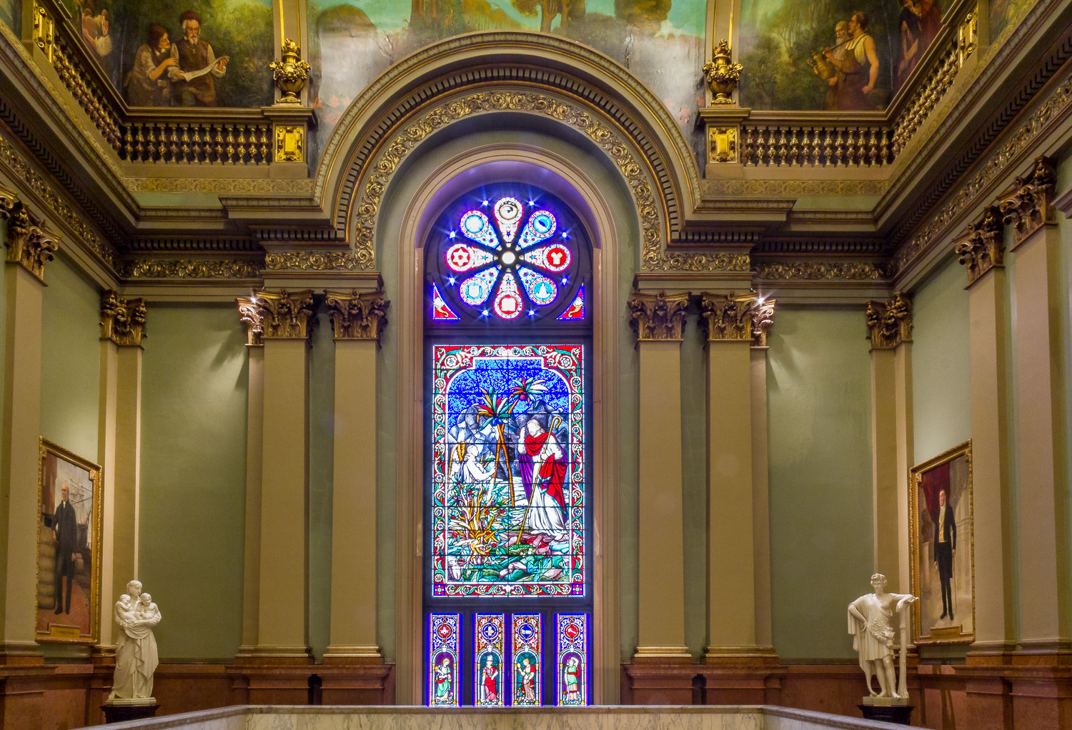 Stained glass window at the Masonic Temple in Philadelphia, Pennsylvania