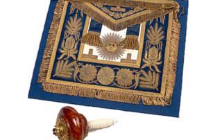 Edward VII, Prince of Wales' Masonic Apron, and Setting Maul, c. 1875