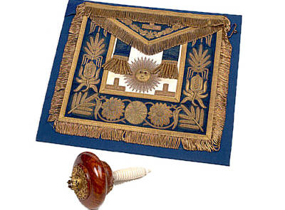 Edward VII, Prince of Wales' Masonic Apron, and Setting Maul, c. 1875