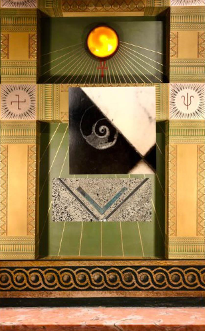 Digital image of abstract shapes and symbols.