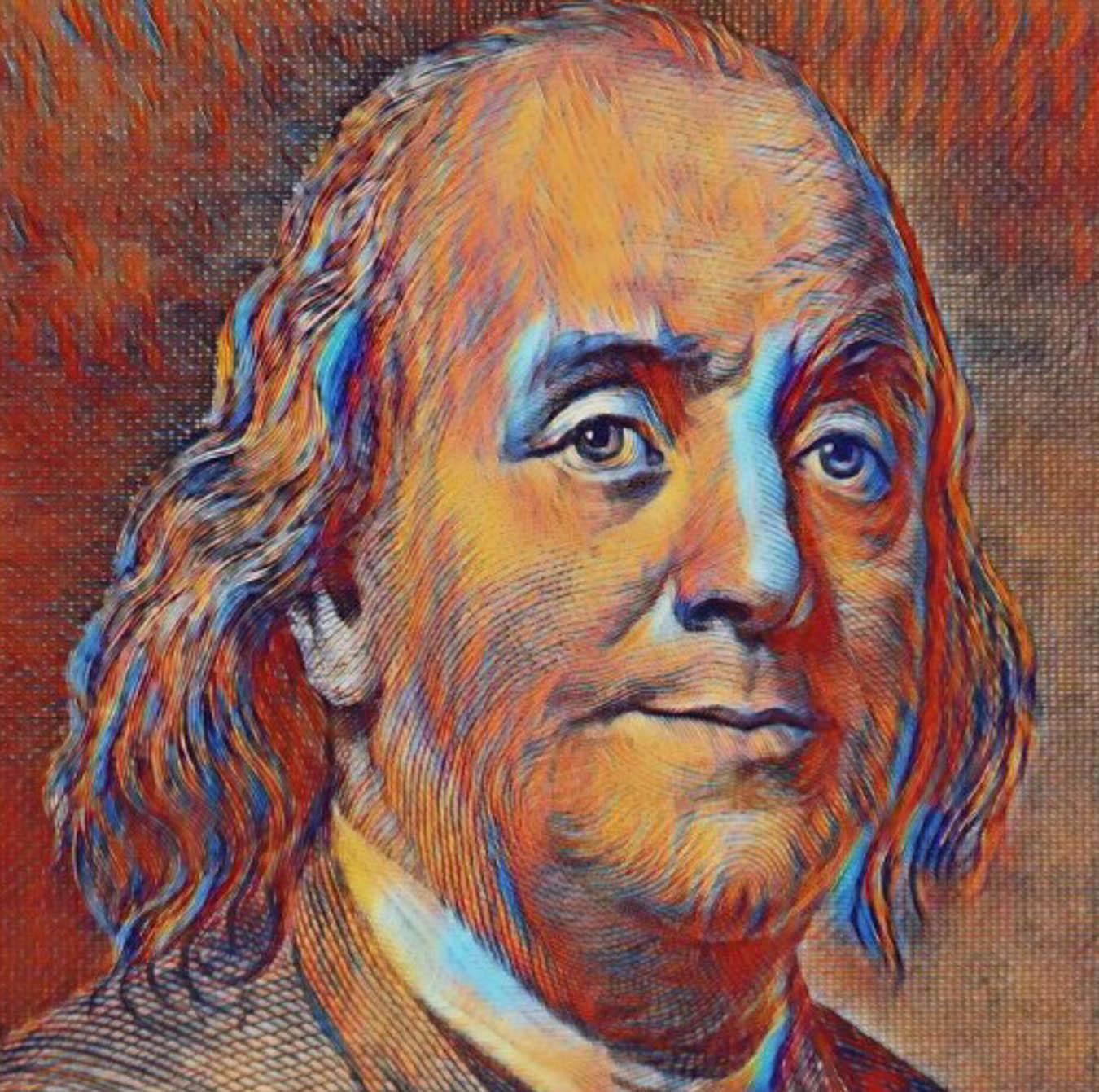 Colorized digital image of Benjamin Franklin.