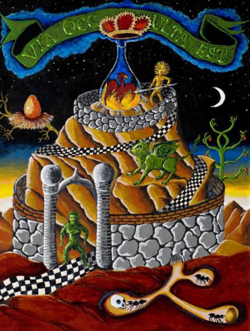 Surreal image of a mountain occupied by mythological creatures. Mountain is surrounded by a stone wall.