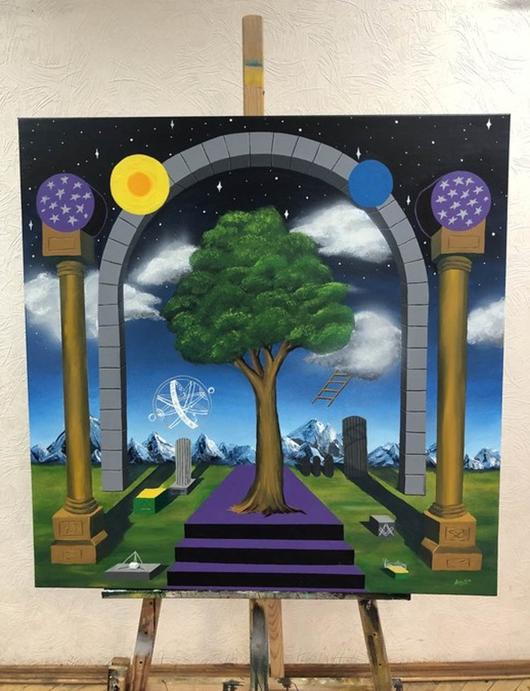 Surreal image of a tree surrounded by columns, an arch and other symbols. Night sky filled with stars and clouds can be seen in the background.