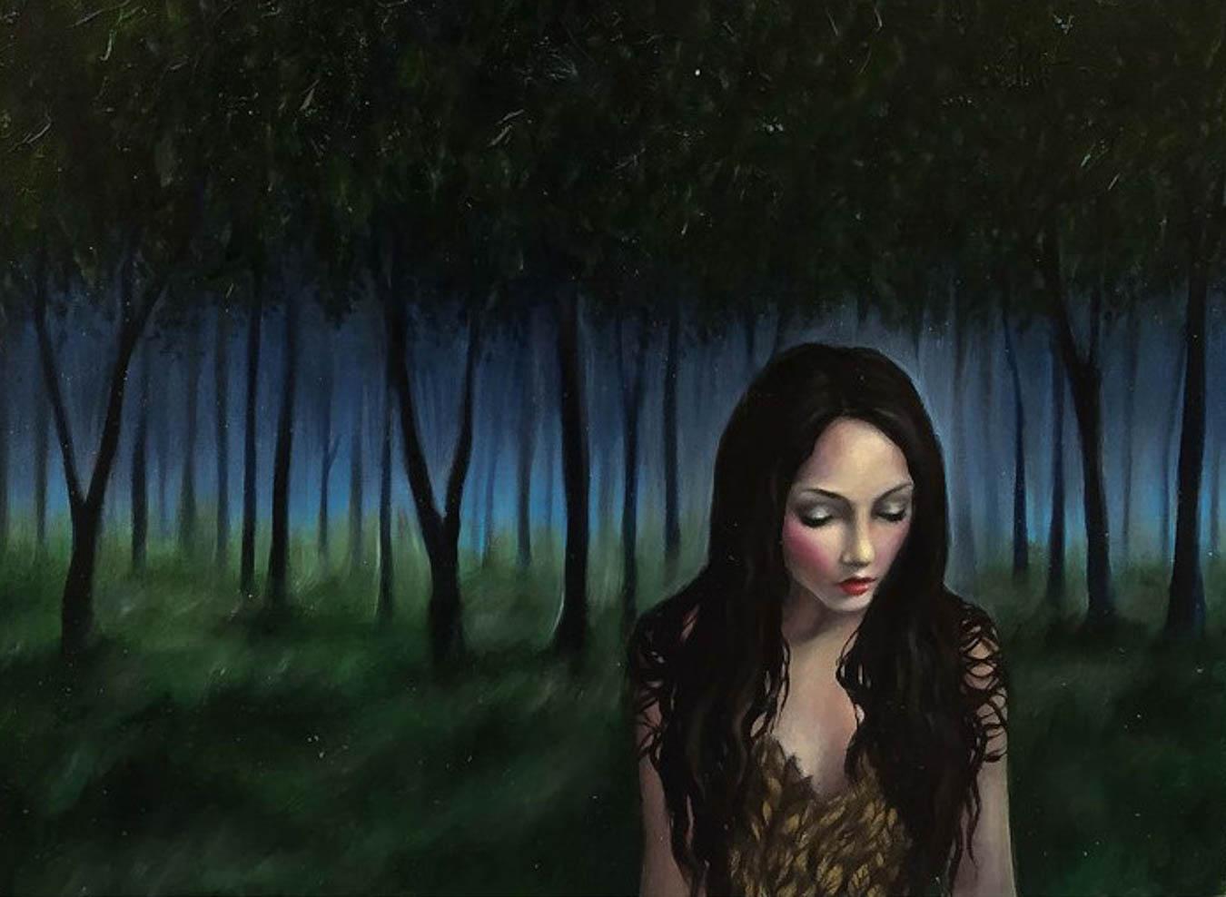 Oil painting of illuminated woman with dark trees in the background.