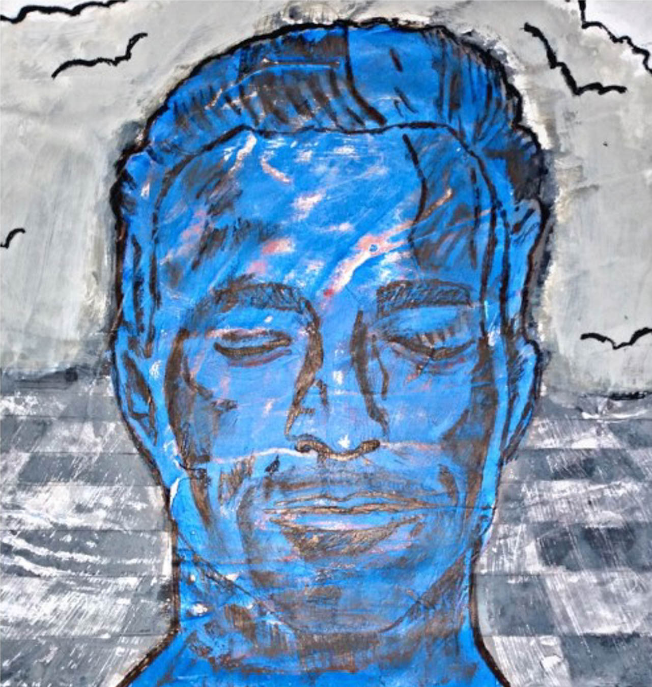 Close-up illustration of a man's face in blue.