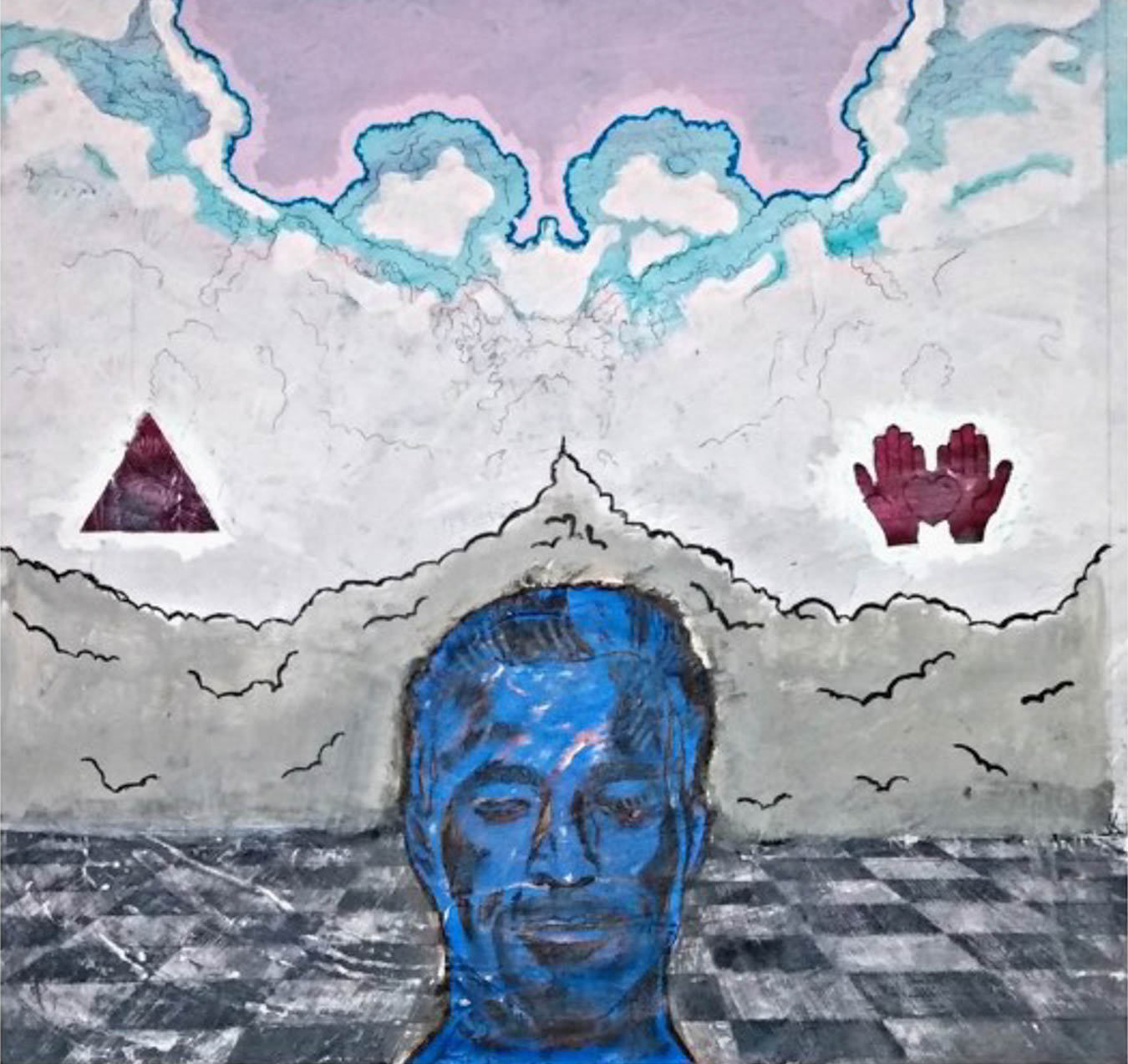 Illustration of man's face in blue in foreground, with abstract shapes in the background.