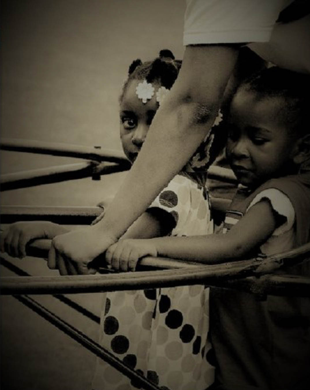 Black and white image of two children on playground equipment surrounded by adult arms.