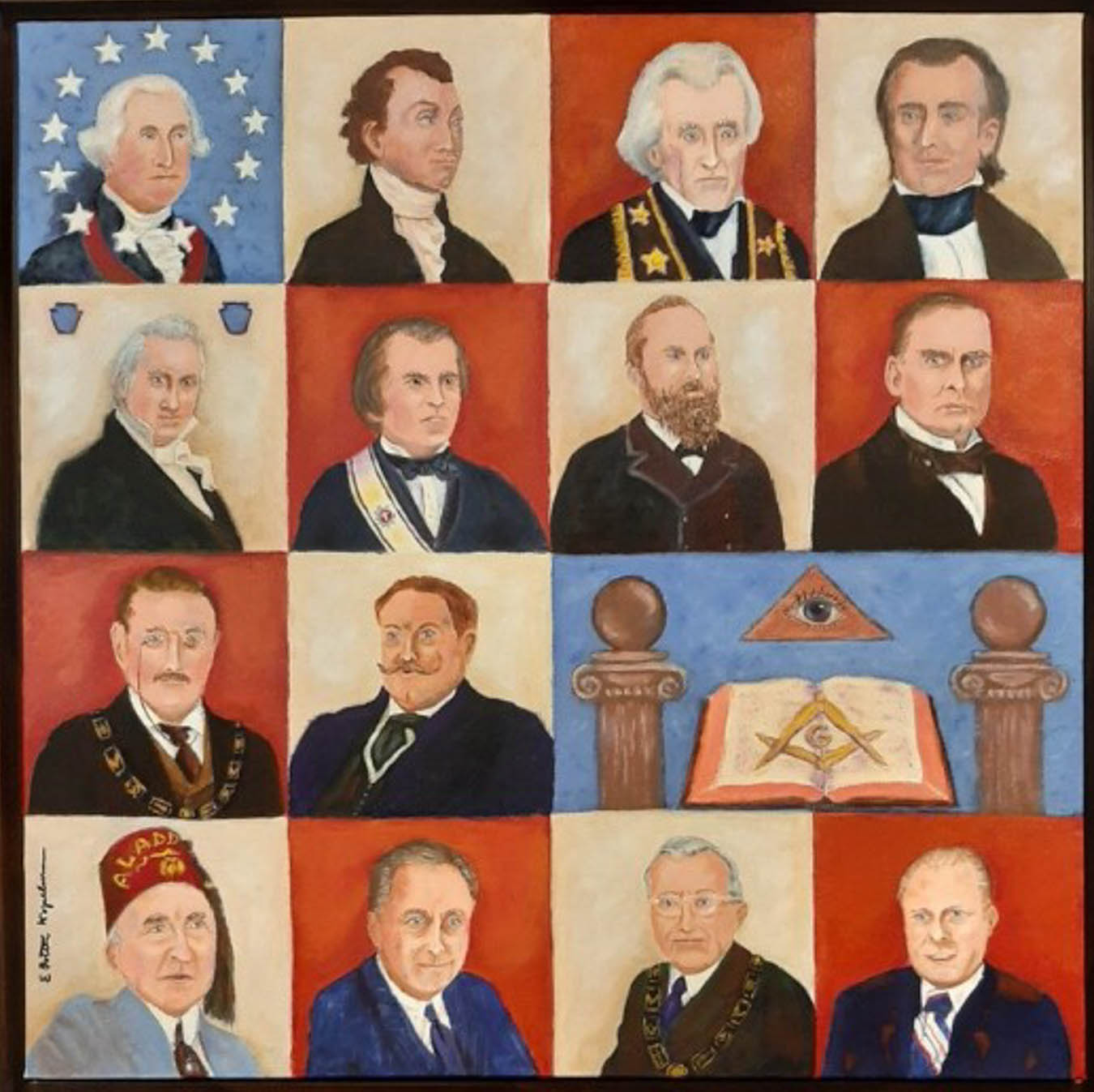 Painting of 14 presidents who were Freemasons in a red, white and blue motif.