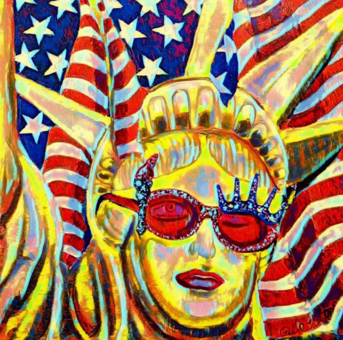 Multicolor digital image of the Statue of Liberty in yellow wearing sun glasses and lipstick with an American flag in the background.