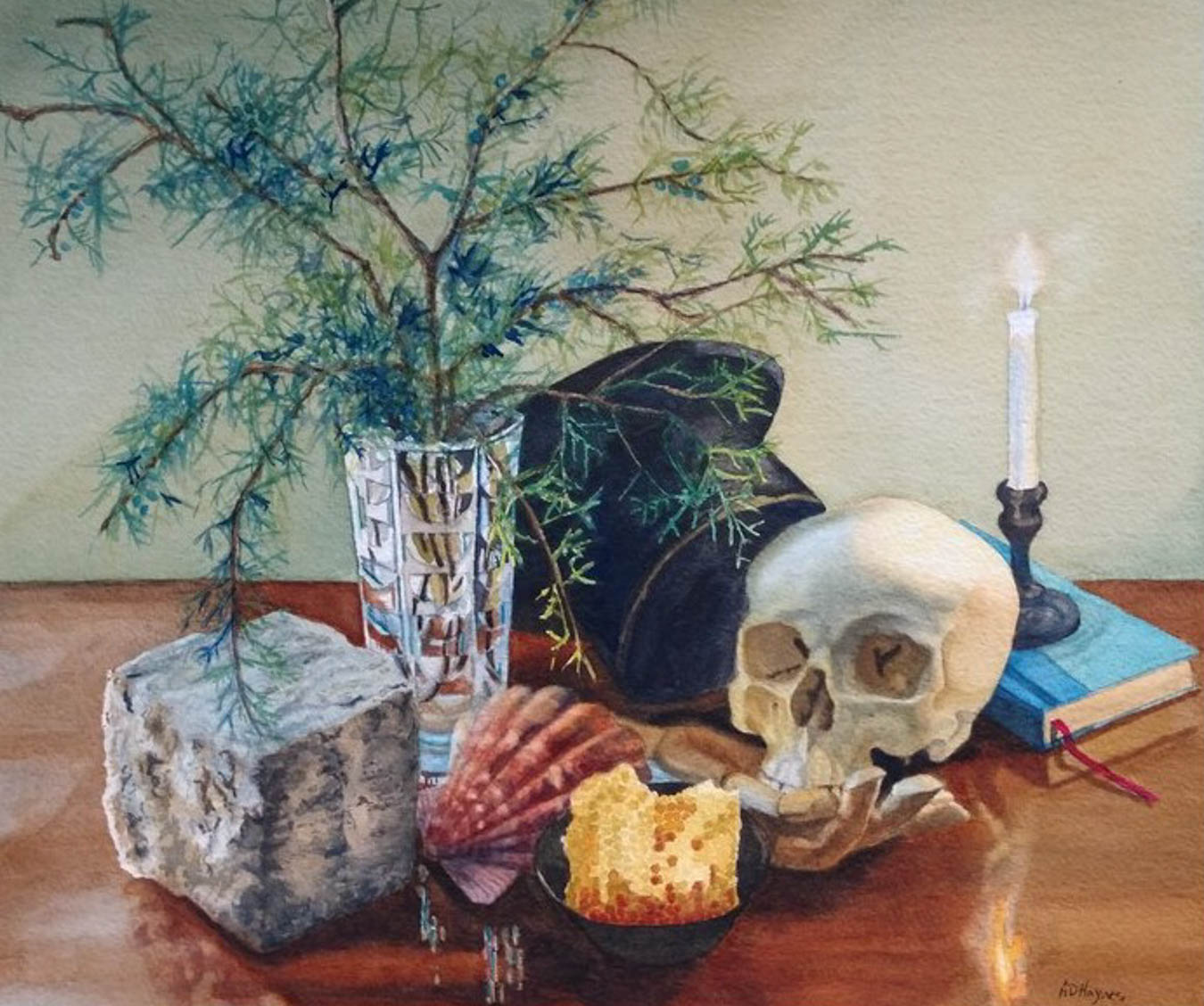 Water color painting of items on a table including a plant in a vase, a skull, a shell, a candle and other items.