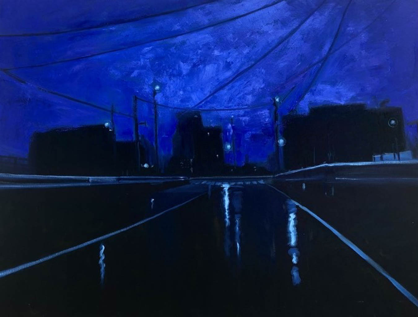 Oil painting of cityscape in the evening.