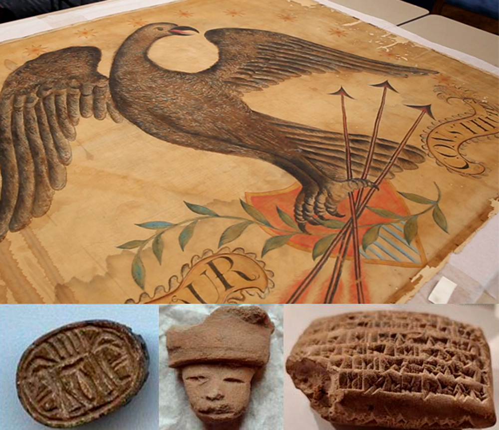 Illustration and sculpted artifacts